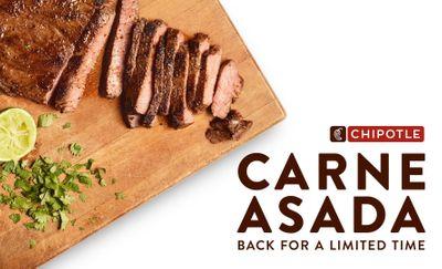 Carne Asada Back by Popular Demand at Select Chipotle Restaurants