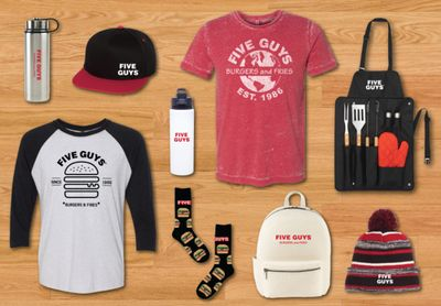 Five Guys Launches New Merch Including Hats, Apparel, Drinkware, Bags and Accessories