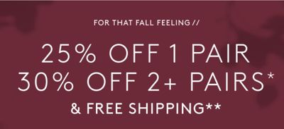 Naturalizer Canada Offers: Save 25% off 1 Pair, 30% off 2+ Pairs & Free Shipping