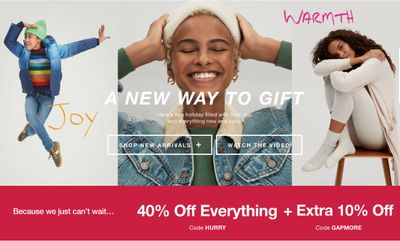 Gap Canada Pre Black Friday Sale: Today, Save 40% off Everything + an Extra 10% off with Coupon Code