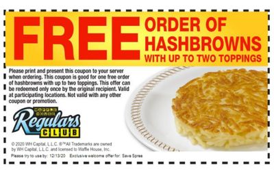 When You Sign Up for the Waffle House Regulars Club Online, You'll Receive a Coupon for Free Hash Browns