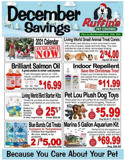 Rufiin's Pet Centre Flyer December 3 to 20