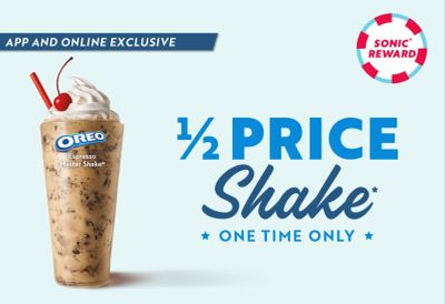 Newly Download the Sonic Drive-in App and Receive a Shake at Half Price