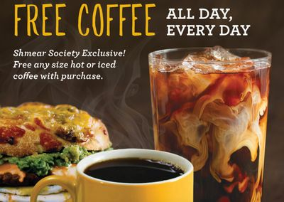 Shmear Society Members at Einstein Bros. Bagels will Receive Free Coffee with Purchase for a Limited Time Only