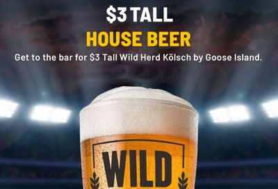 $3 Tall House Beer Returns to Buffalo Wild Wings with Dine-in Only Service