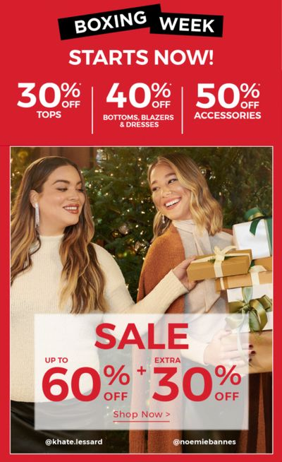 RW&CO. Canada Boxing Week 2020 Sale Starts Now: Save up to 60% off + an Extra 30% Off Sale Styles + 40% off Blazer, Bottoms, & Dresses + More Deals