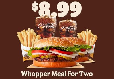 For a Limited Time Only, You Can Get 2 Whopper Meals at Burger King for $8.99