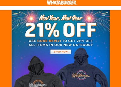 Receive 21% Off All New 2021 Merch at the Whataburger Online Shop with a New Promo Code