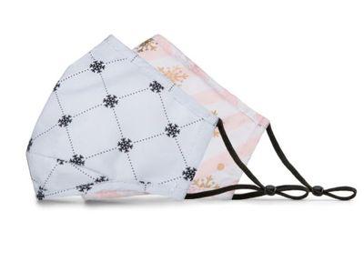 BondStreet Non-Medical Reusable Masks + Filter - Pink/White Stripes Snowflakes & Beige Snow Flakes For $1.97 At Staples Canada