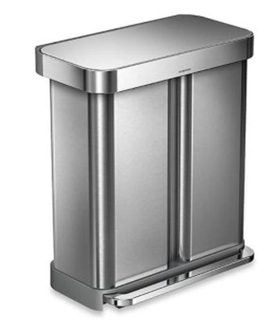simplehuman® Dual Compartment Rectangular 58-Liter Step Trash Can For $207.99 - $299.99 At Bed Bath & Beyond Canada