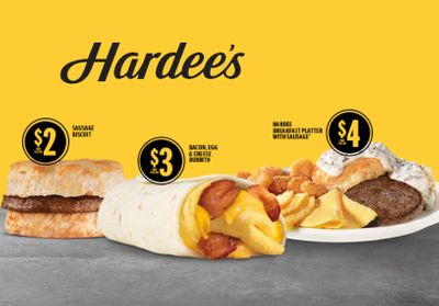 Hardee's $3 Bacon, Egg & Cheese Burrito Newly Joins the Popular $2, $3, More Breakfast Menu
