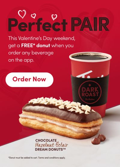 Tim Hortons Canada Valentine's Day Weekend Promo: FREE Donut With Purchase