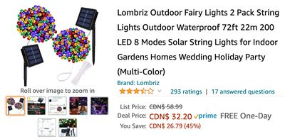 Amazon Canada Deals: Save 45% on Outdoor Fairy Lights 2 Pack String Lights 23% on Gaming Chair + More Offers