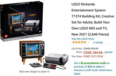 Amazon Canada Deals: Save 5% onLEGO Nintendo Entertainment System 71374 Building Kit, for $284.68