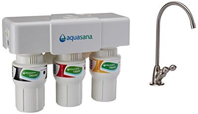 Aquasana AQ-5300.55 3-Stage Under Counter Water Filter System with Brushed Nickel Faucet $152.97 (Reg $184.97)