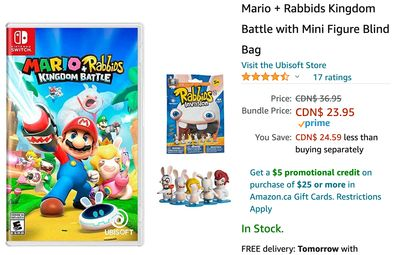 Amazon Canada Deals: Save 35% on Mario + Rabbids Kingdom Battle with Mini Figure Blind Bag + 27% on 12TB External Hard Drive + 16% on Dinosaur Toys Race Track Car + More Offers
