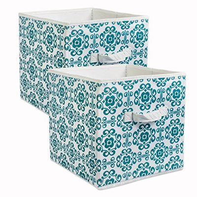 """DII CAMZ38458 Fabric Storage Bins for Nursery, Containers Are Made To Fit Standard Cube Organizers (13x13x13"""") Scroll Teal, Set of 2 $16.5 (Reg $20.64)"""