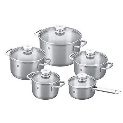 ZWILLING Focus 10 Piece Stainless Steel Cookware Set I Industion Compatible I 18/10 Stainless Steel Interior for Pure Tasting Food I Glass Lids and Folded Rims, Regular, Silver (66670-001) $199.99 (Reg $239.99)