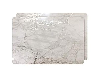 """Dainty Home Foiled Marble Granite Thick Cork Heat Resistant Dining Table Placemats Set of 2, 12"""" x 18"""" Rectangle, Silver $24.6 (Reg $26.73)"""