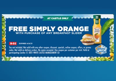 Buy a Breakfast Slider In-Restaurant and Get a Free Simply Orange with a New White Castle Coupon Through to April 4