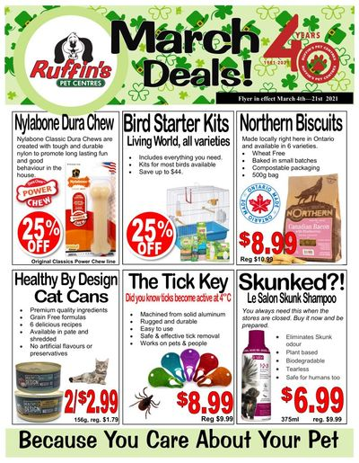 Rufiin's Pet Centre Flyer March 4 to 21