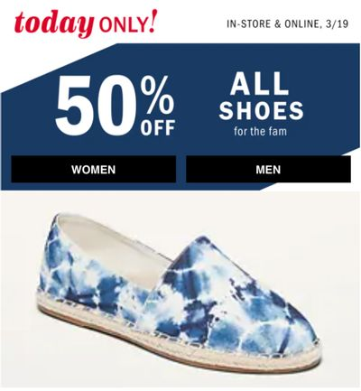 Old Navy Canada One Day Deal: Save 50% off Shoes + up to 50% off Tops, Shorts & Dresses