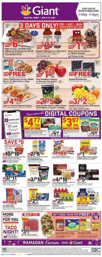 Giant Food Weekly Ad Flyer April 9 to April 15