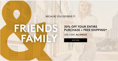 Naturalizer Canada Friends & Family Event Sale: Today Only, Save30% off Your Entire Purchase + FRRR Shipping with Coupon Code