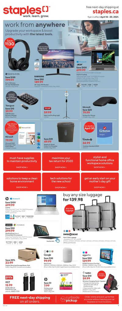 Staples Flyer April 14 to 20