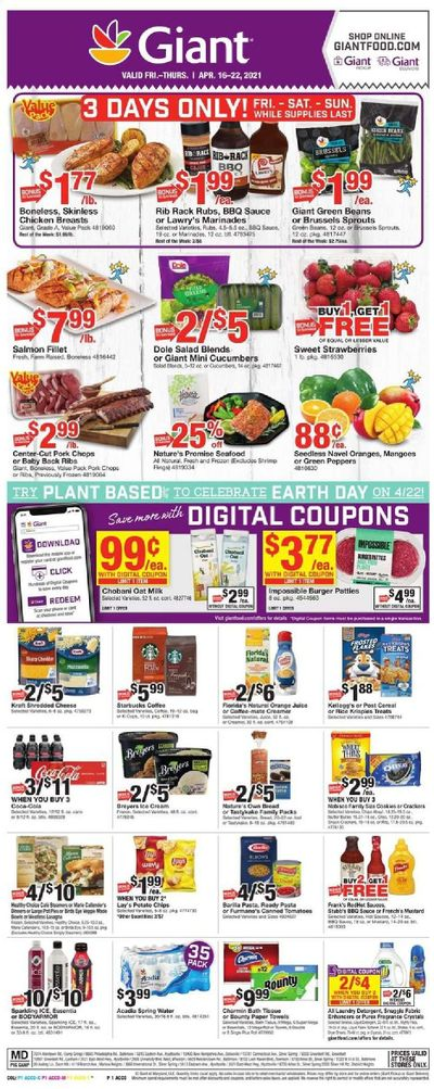 Giant Food Weekly Ad Flyer April 16 to April 22