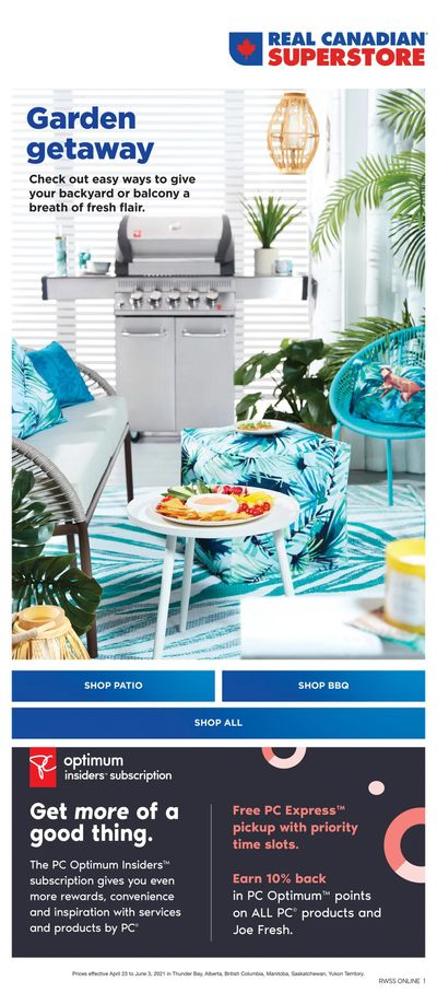 Real Canadian Superstore (West) Outdoor Living Flyer April 23 to June 3
