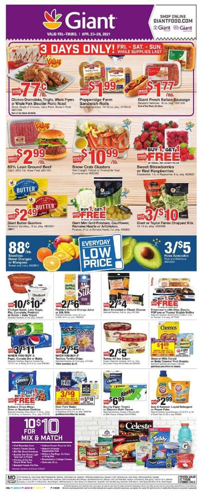 Giant Food Weekly Ad Flyer April 23 to April 29