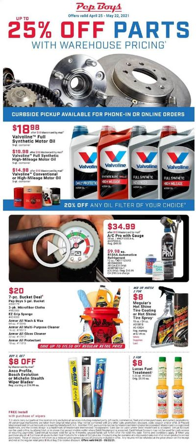 Pep Boys Weekly Ad Flyer April 25 to May 22