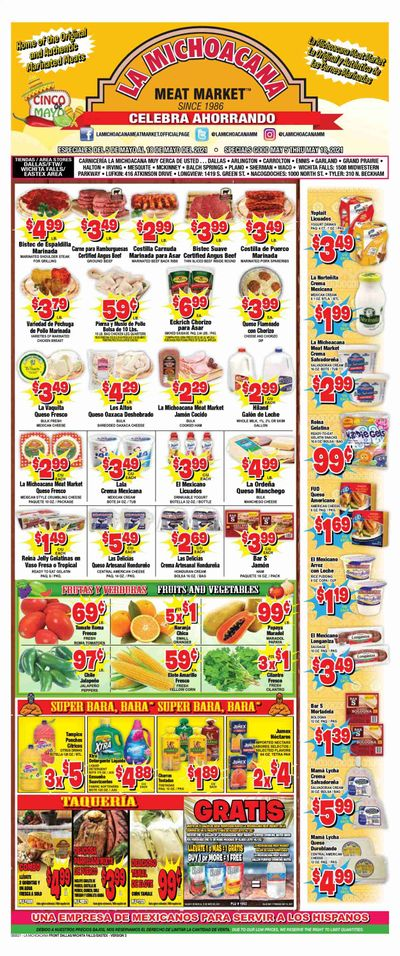 La Michoacana Meat Market (TX) Weekly Ad Flyer May 5 to May 18