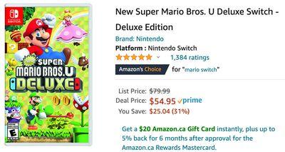 Amazon Canada Nintendo Games Deals: Save 31% on Nintendo Games