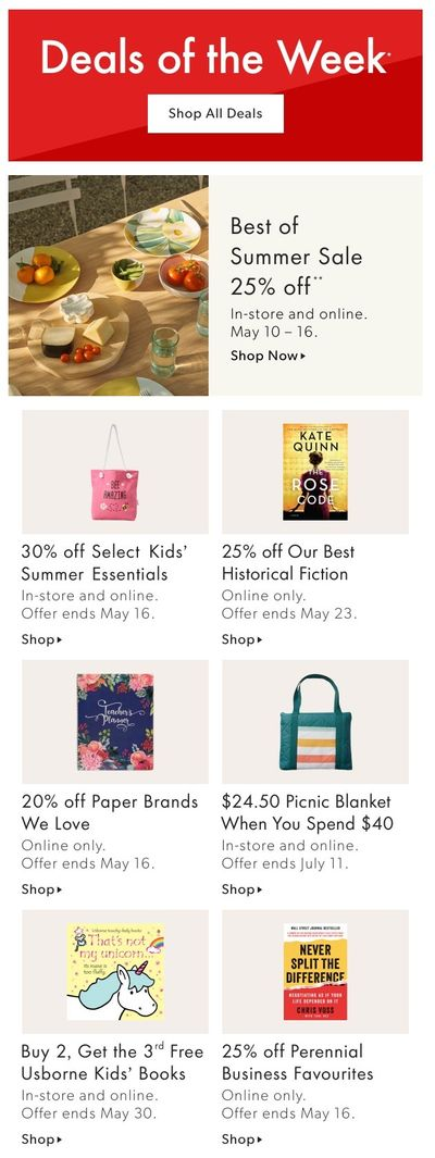 Chapters Indigo Online Deals of the Week May 10 to 16