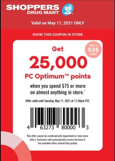 Shoppers Drug Mart Canada Tuesday Text Offer: Get 25,000 PC Optimum Points When You Spend $75