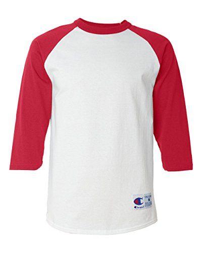 Champion Men's Raglan Baseball T-Shirt, White/Scarlet, Small $14.49 (Reg $26.00)