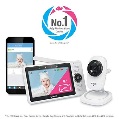 VTech RM5752 Wireless WiFi Video Baby Monitor with Free Remote Access Myvtech Baby App for Viewing, 1080p HD Camera with 5-Inch Hd Touch Screen. Local or Remote 2-Way Talkback, White, One Size $129.98 (Reg $199.99)