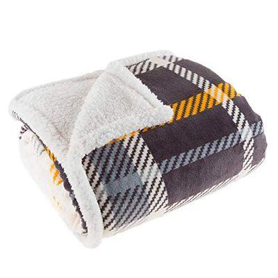 Lavish Home 61-00004-BL Fleece Sherpa Blanket Throw, Plaid Yellow/Grey $41.87 (Reg $45.49)