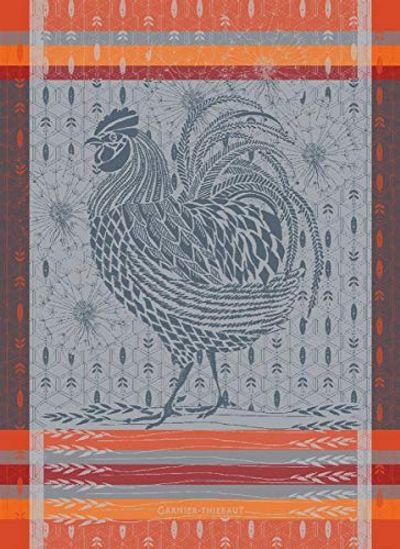 """Garnier Thiebaut Coq Design Orange Kitchen Towel, 22"""" x 30"""" $24.7 (Reg $27.64)"""