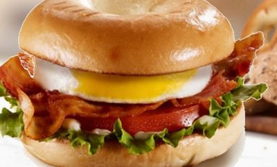 BLT bagel with egg on plain bagel at McDonald's Canada