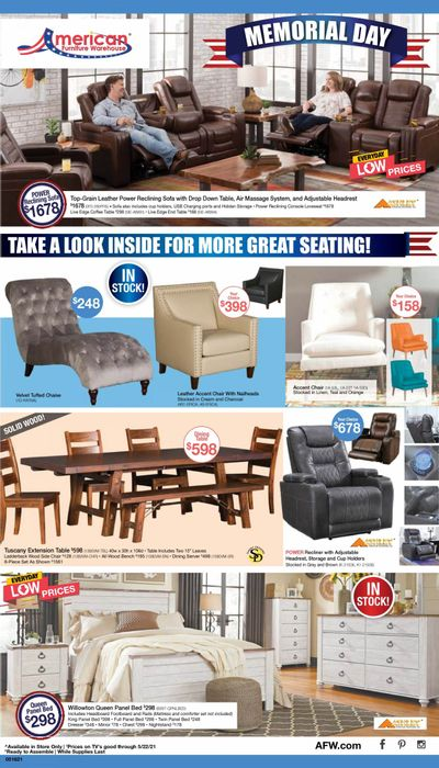 American Furniture Warehouse (AZ, CO, TX) Weekly Ad Flyer May 16 to May 22