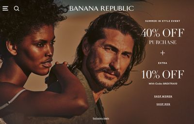 Banana Republic Canada Sale: Save 40% off + Extra 10% off Purchase With Coupon Code