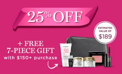 Lancôme Canada Friends & Family Coupon Code Sale: Save 25% off + FREE 7-Piece Gift