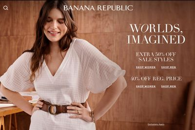 Banana Republic Canada Sale: Save 40% off Sitewide +an Extra 50% off Sale Styles + Extra 10% off Your Purchase with Coupon Code