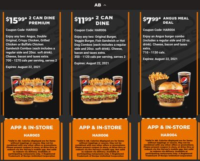 Harvey's Canada Coupons (AB): until August 22