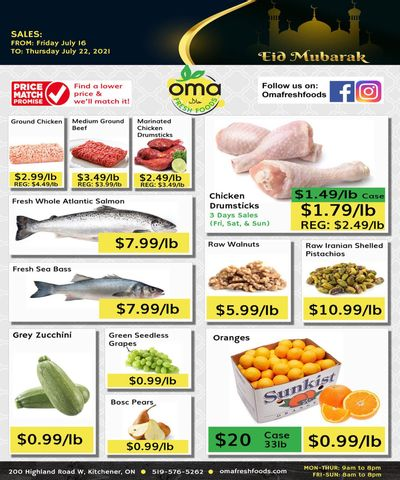 Oma Fresh Foods Flyer July 16 to 22