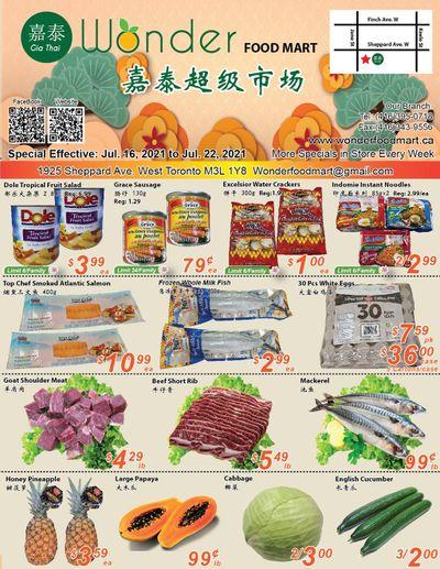 Wonder Food Mart Flyer July 16 to 22