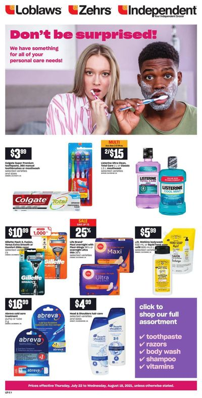 Loblaws (ON) Personal Care Flyer June 22 to August 18